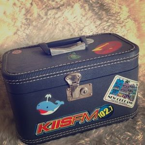 Vintage hard case train travel cosmetic suitcase